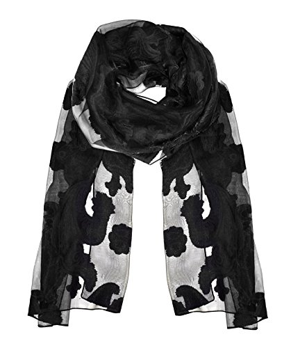 Peach Couture Lightweight Sheer Embroidered Paisley Burnout Summer Scarf Black