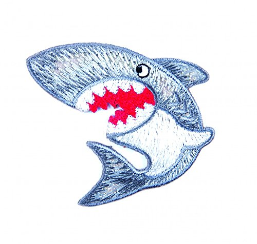 Craft Factory Iron or Sew On Fabric Motif Applique Shark - each