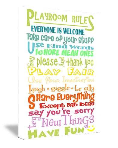 Framed Canvas Print Colorful Playroom Rules Everyone Is Welcome Take Care Of Your Stuff Use Kind Words Ignore Mean Ones Say Please And Thank You Play Fair Use Your Imagination Laugh Giggle