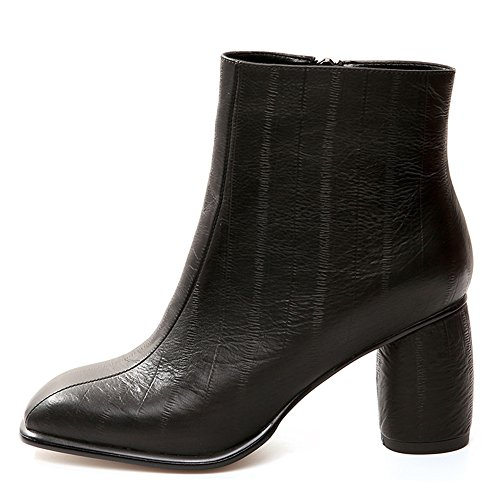 Genuine Seven Classic Ankle Nine Block Dress Leather Handmade Women's Heel Square Toe Black Work Booties qpwd5Tfw