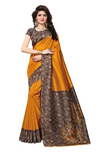 Shonaya Women`S Designer Cotton Silk Printed Saree with Unstitched Blouse Piece (Mustard) by Shonaya