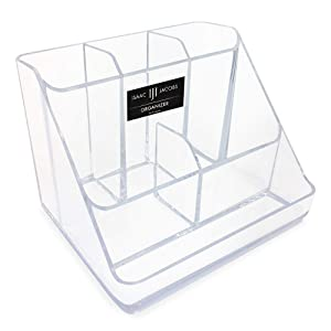 Isaac Jacobs 6-Compartment Clear Acrylic Makeup Organizer & Multi-Sectional Tray, for Cosmetics, Home Office, School & Craft Supplies, Desk, Bathroom Countertop, Vanity & Home Office