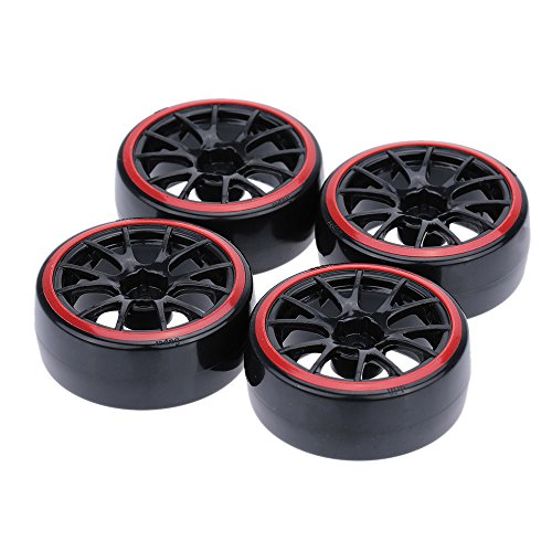 Walmeck 4Pcs/Set 1/10 Drift Car Tires Hard Tyre for Traxxas HSP Tamiya HPI Kyosho On-Road Drifting Car