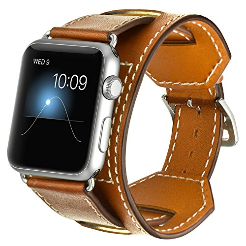 Valkit for Apple Watch Band - iWatch Bands 38mm Genuine Leather Strap iPhone Smart Watch Band Bracelet Replacement Wristband with Stainless Steel Adapter Metal Clasp for Apple Watch 3 2 1, Cuff -Brown