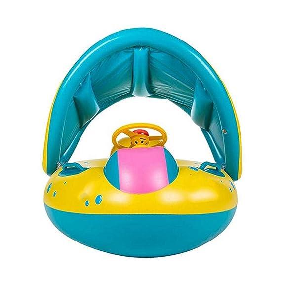 LIJIE Bebé Anillo De NatacióN Flotador Inflable con Sombrilla Ajustable Barco De NatacióN para Yate 6-36 Meses NiñO PequeñO NiñOs: Amazon.es: Deportes y ...