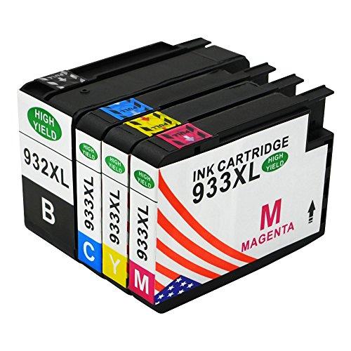Toner Kingdom 4 Pack 932XL 933XL hohe Reichweite Tintenpatrone Kompatibel für HP Officejet 6100 6600 6700 7110 7610 7612 Drucker (1 Schwarz, 1 Cyan, 1 Magenta, 1 Gelb)
