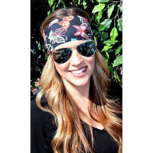 RAVEbandz Fashion Stretch Headbands (BUTTERFLY) Non Slip Wide Hippie Boho Sports Fitness Performance Athletic Hair Bands for Women and (Butterfly Tie Dye Bandana)