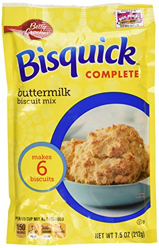 - Betty Crocker Bisquick Complete Buttermilk Biscuit Mix, Just Add Water! 7.5 Oz. = 6 to 8 Biscuits (4 Pack)