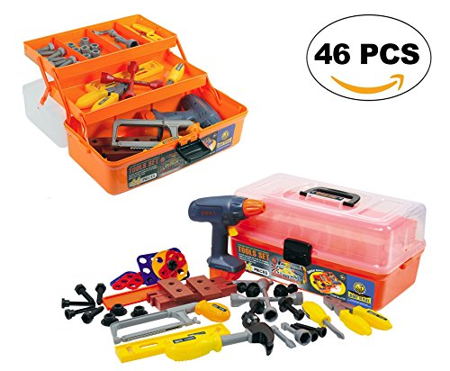 46-Pieces Deluxe Kids Handyman Pretend Play Toy Tool Box with Realistic Power Tools Set - Construction Workshop Toolbox STEM Toys
