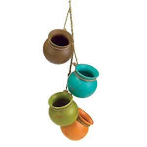 Gifts & Decor Dangling Mini Ceramic Pot Set