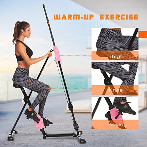 ANCHEER Vertical Climber Folding Exercise Climbing Machine, Exercise Equipment Climber for Home Gym, Exercise Bike for Home Body Trainer (Pink) by ANCHEER (Image #3)