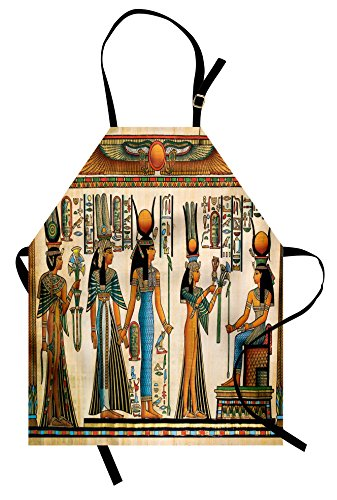 Lunarable Egyptian Apron, Egyptian Papyrus Depicting Queen Nefertari Making an Offering to Isis Image Print, Unisex Kitchen Bib Apron with Adjustable Neck for Cooking Baking Gardening, (Isis Costume Funny)