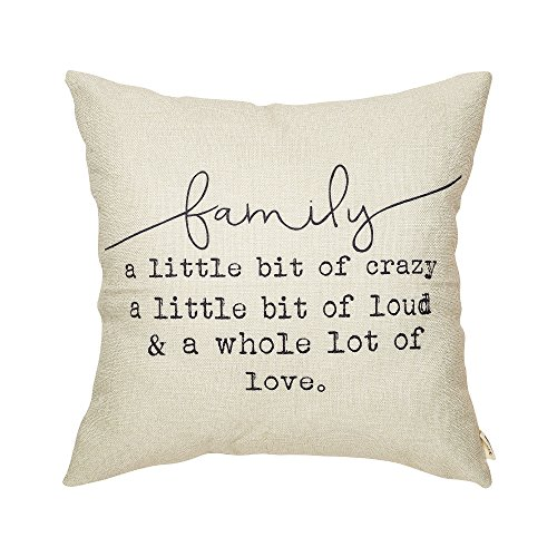 Fjfz Family a Little Bit of Crazy a Little Bit of Loud and a Whole lot of Love Rustic Decoration Farmhouse Décor Cotton Linen Home Decorative Throw Pillow Case Cushion Cover for Sofa Couch, 18