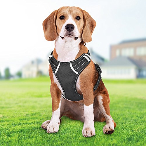 51IMqv5wg4L - Big Dog Harness, SHINE HAI No Pull Front Range Pet Harness, Adjustable Outdoor Vest Harness 3M Reflective Oxford Soft Vest, Walking Training Easy Control for Medium Large Dogs