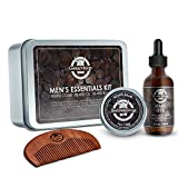 Beard Oil and Beard Balm Gift Set - Gentle Vikings Beard Kit for Men Care with Wooden Comb- Mustache & Beard Styling & Shaping - Natural and Organic Ingredients
