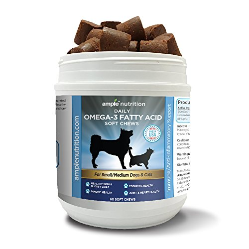 Omega 3 Fatty Acid Soft Chew Treats with Fish Oil | Max Strength | Dog Omega 3 Supplement | For Cats & Small to Med Dogs | For Dry Itchy Skin, Immune, Brain & Joint Health | 60 Soft Chew Treats - Growth Treats