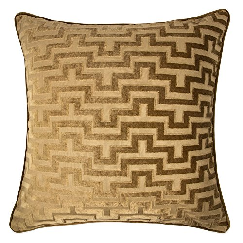 Brown Velvet Pillow - Homey Cozy Modern Velvet Maze Throw Pillow Cover,Bronze Brown Luxury Soft Fuzzy Cozy Warm Slik Decorative Square Couch Cushion Pillow Case 20 x 20 Inch, Cover Only
