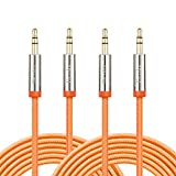 Audio Cable, 2 Pack 10ft Nylon Braided Stereo Audio Cable 3.5mm, F-color™ Premium 24K Gold Plated Male to Male Cord Connector for Headphone, iPhone iPod iPad, Car or Home Stereos 3 meter Orange