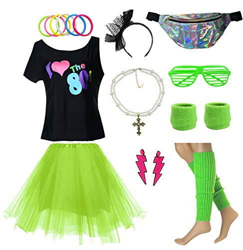 elementact 80s Girl Teenage 10-18 T-Shirt Fancy Dress Costume Accessories w/Fanny Pack Bag (14/16, Green) ()