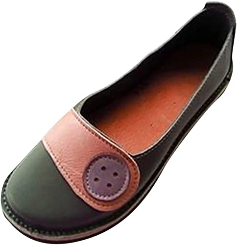 Women's Mules Moccasin Flat Sandals Leather Slippers Loafer Casual Shoes UK 7.5