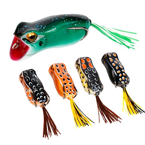 RUNCL Topwater Frog Lures with Single Skirts, Soft Fishing Bait Tackle with Tackle Box for Bass Pike Snakehead Dogfish Musky (Pack of 5) (Bait Hanging)