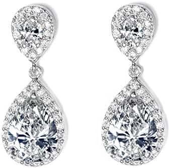 UMODE 3 Carat Pear Cut Cubic Zirconia Tiny CZ Diamond Accent Halo Teardrop Dangle Earrings for Women 1.2