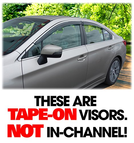 C&C Car Worx Set of 4 Tape-On Outside-Mount WV-LS15-TF Side Window Visor Rain Guard Deflectors for 2015, 2016 2017 2018 2019 Subaru Legacy