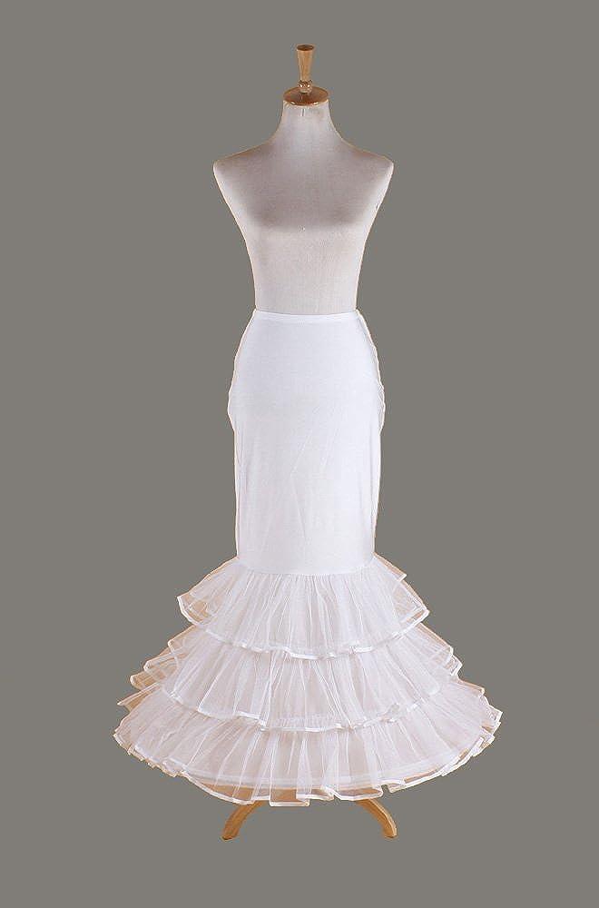 PJ enagua de la boda accesorios de la boda Enaguas Lycra sirena de cola de pescado 1-aro vestido de novia de encaje crinolina enagua volante deslizamiento ...