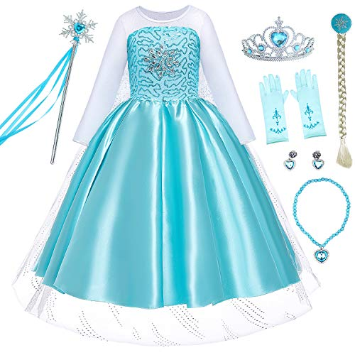 Party Chili Princess Elsa Dress Up for Little Girls Costumes with Gloves,Crown,Wand,Wig,Necklace Accessories (8 9)