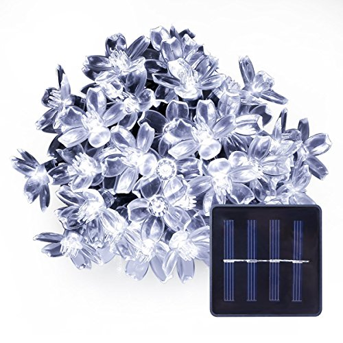 Lightspot Solar Waterproof String Lights 50 LED 7M/22Ft Cherry Blossom Flower Garden Christmas Lights for Outdoor Indoor Party Wedding Patio Holiday Decorations (White) (Holiday Christmas Wreath 22')