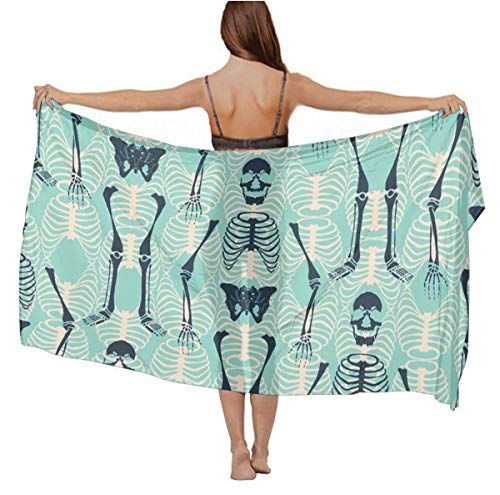 Ladyies Fashion Sexy Scarves Cashmere Feel Large Neck Wrap Sarong Skirt for Evening Party Holiday Beach, Halloween Skeleton Mint Green Summer Chiffon Swimsuit Cape -