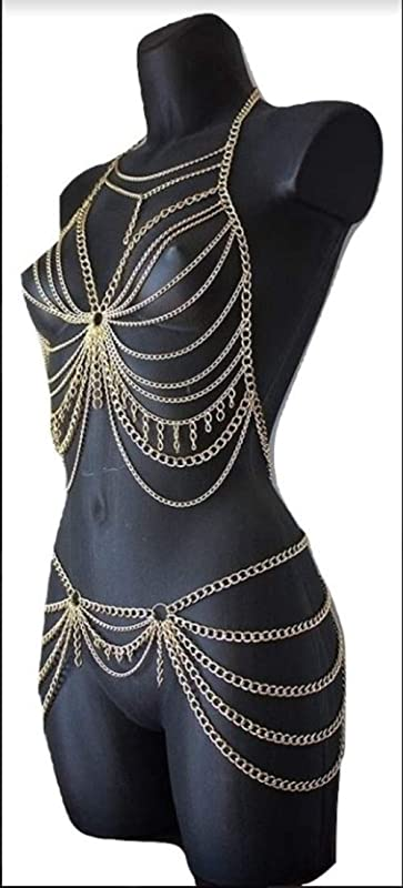Gold Body Chain festival outfit Gold chain bra and skirt Bodychain