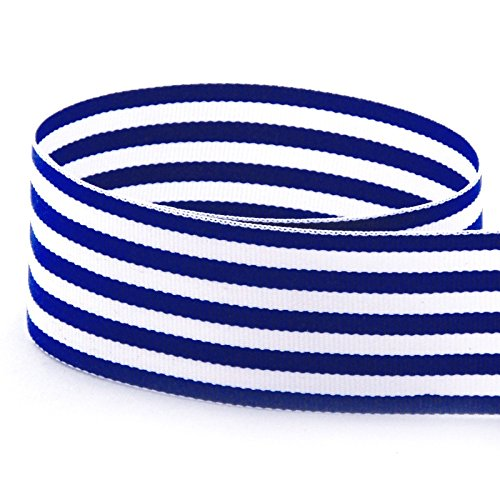 USA Made 1-1/2'' Royal Blue & White Monarch Striped Grosgrain Ribbon - 100 Yards (Multiple Colors & Widths Available)