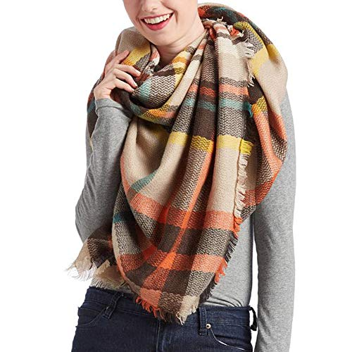 - Plaid Scarfs for Women Big Grid Winter Lattice Large Scarf Checked Blanket Scarf