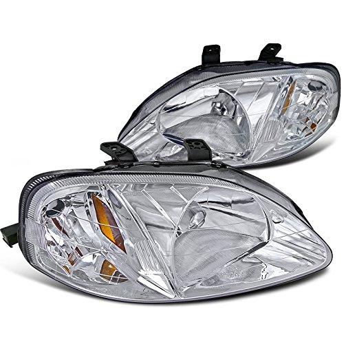 Spec-D Tuning 2LH-CV99-RS Honda Civic DX LX EX Crystal Clear Chrome Amber Head Lights Lamps Pair - Civic Dx Lx