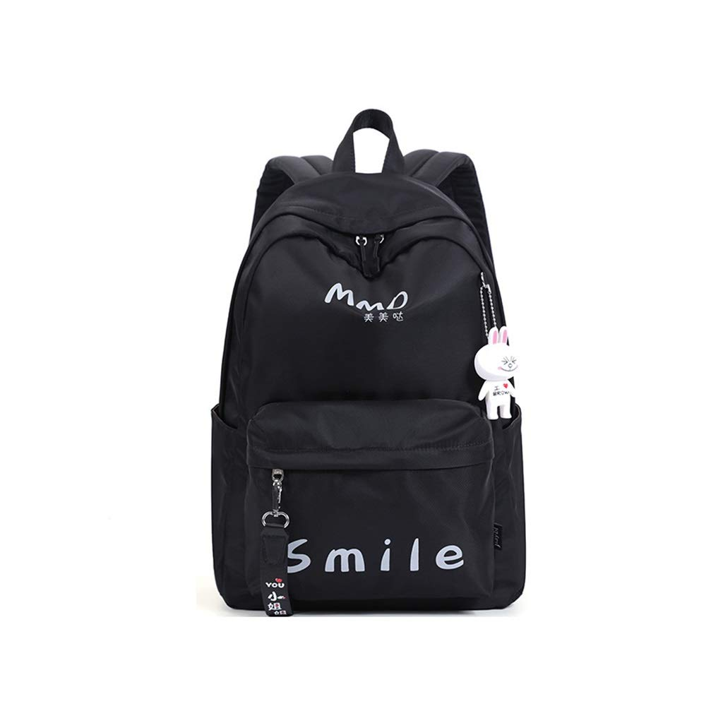Black 30x14x42cm QRFDIAN Backpack female college student bag simple junior high school student large capacity backpack travel bag waterproof bag Fabric (color   Pink, Size   30x14x42cm)