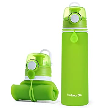 ValourGo Botella de Agua Plegable con Válvula a Prueba de Fugas – Cantimplora Reutilizable y Flexible