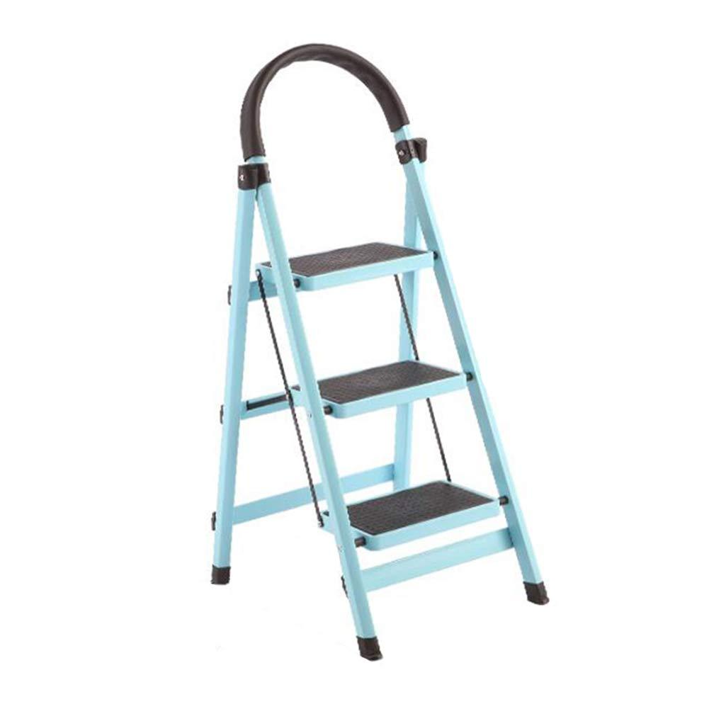 compra limitada JI Bin Shop Escalera De De De Mano, 3 Pasos - Escaleras Plegables De Aluminio del Hogar, Heces Portátil De Pie para La Oficina Jardín De Su Casa + (Color : Azul)  a la venta