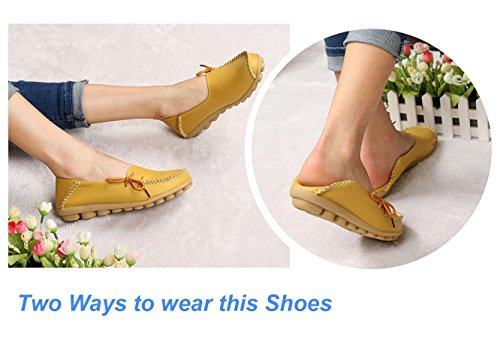 LONSOEN Moccasin Blue and Casual Flats Solid Driving Boat Leather On Slip Deep Loafer Women Shoes prHx56pq