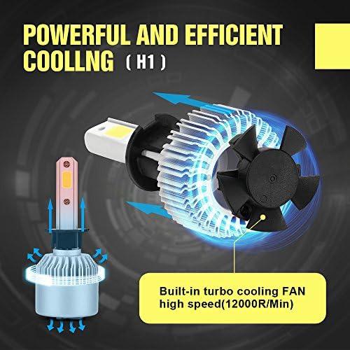 Bonega 20000LM 200W CREE LED faro del coche H1 hal¨®geno HID bombilla de xen¨®n incorporado en el ventilador de refrigeraci¨®n 6500K blanco: Amazon.es: Coche y moto