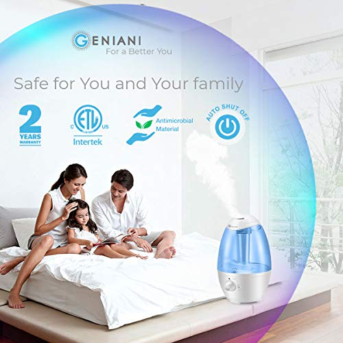 Ultrasonic Cool Mist Humidifier - Best Air Humidifiers for Bedroom/Living Room/Baby with Night Light - Whole House Solution - Large 3L Water Tank - Auto Shut Off and Filter-Free - 2 YEAR WARRANTY (3L)