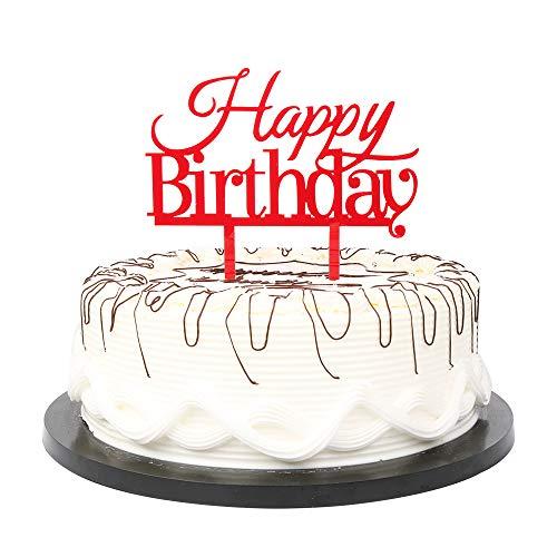 YUINYO Happy Birthday Cake Topper Red Birthday Party