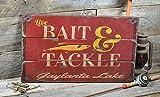 Gaylanta Lake Michigan, Bait and Tackle Lake House Sign - Custom Lake Name Distressed Wooden Sign - 16.5 x 28 Inches