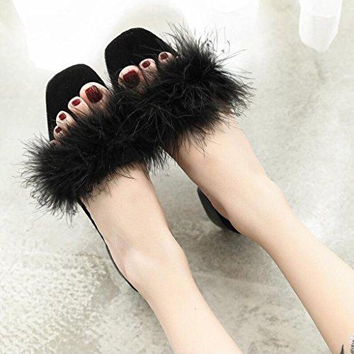 Chaussures D'été Maomao Black EU36 Belle Femme Plein CN36 Paresseux Personnalité Flip Flop Taille en Mode Xy® Black Sandales UK4 Chaussures Air De Couleur wP4qAA7I