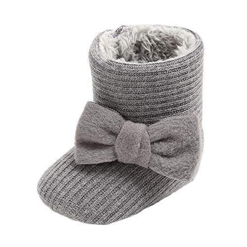 CLOUCKY Infant Girls Cute Bowknot Booties Baby Girl Warm Winter Snow Boots Gray, 0-6 Months
