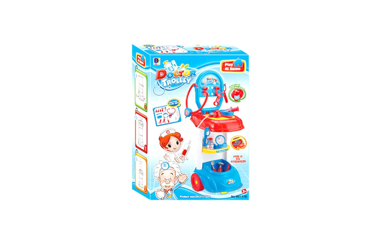 PowerTRC Toddlers Pretend Doctor Trolley Play Set with Music and Lights   Doctor Hospital Care Cart with Medical Equipment for Kids