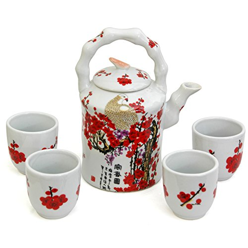Oriental Furniture Cherry Blossom Porcelain Tea Set Cherry Blossom Porcelain
