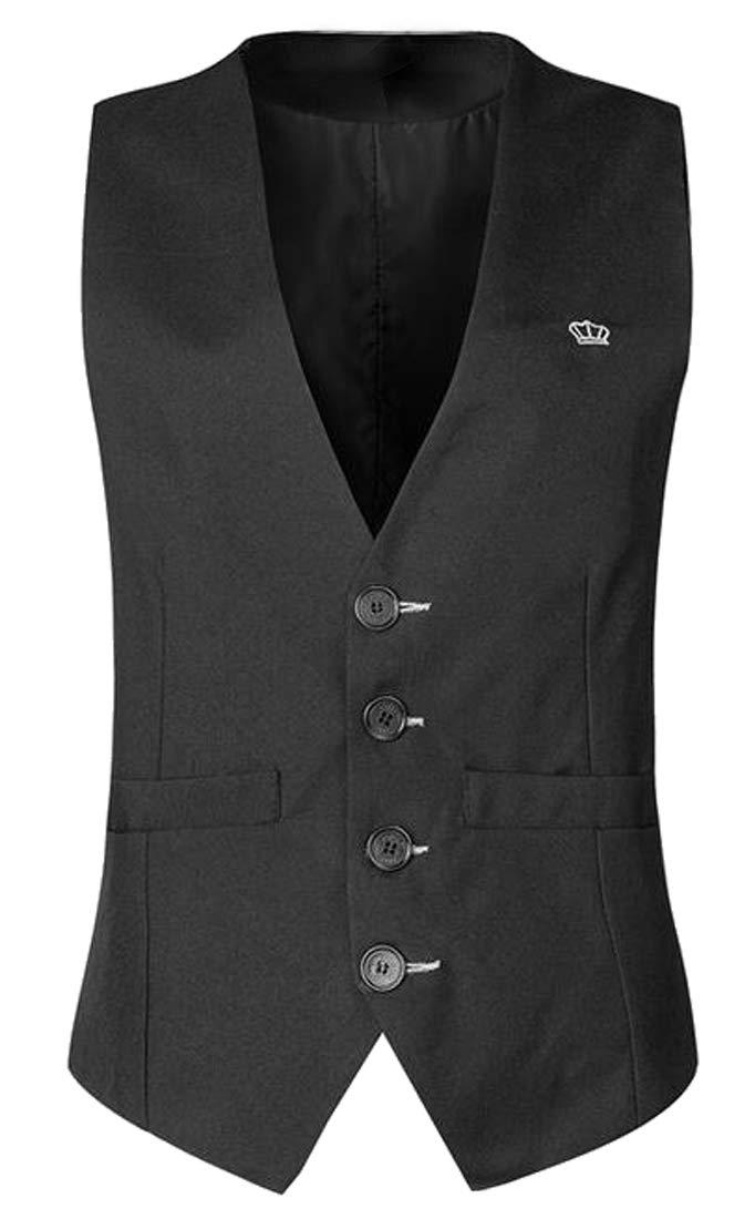 WAWAYA Mens Sleeveless Casual Plain Single Breasted Dress Suit Vest Waistcoat Black XS