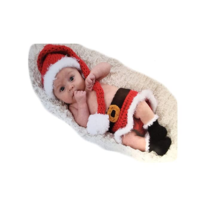 ca4440a36e7 Image Unavailable. Image not available for. Color  Fashion Newborn Baby  Girls Photo Shoot Props Outfits Crochet Knitted Christmas Hat ...