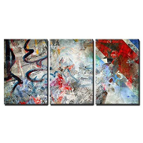wall26 - 3 Piece Canvas Wall Art - Illustration - Graffiti Background, Grunge Illustration - Modern Home Decor Stretched and Framed Ready to Hang - 16